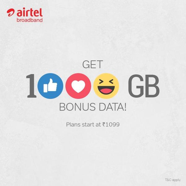 Airtel Broadband Offer 1000GB Extra