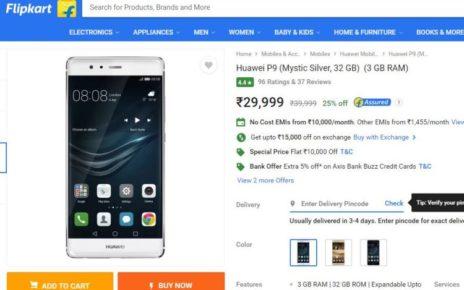 Huawei P9 Price Drop Flipkart