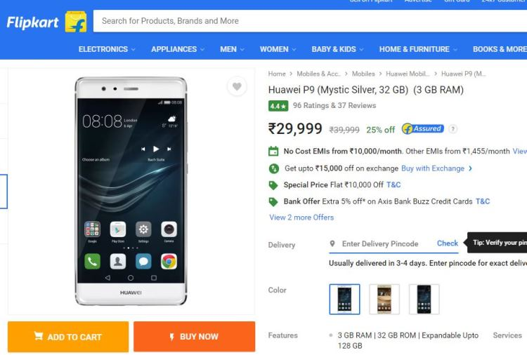 Huawei P9 Price Drop Flipkart