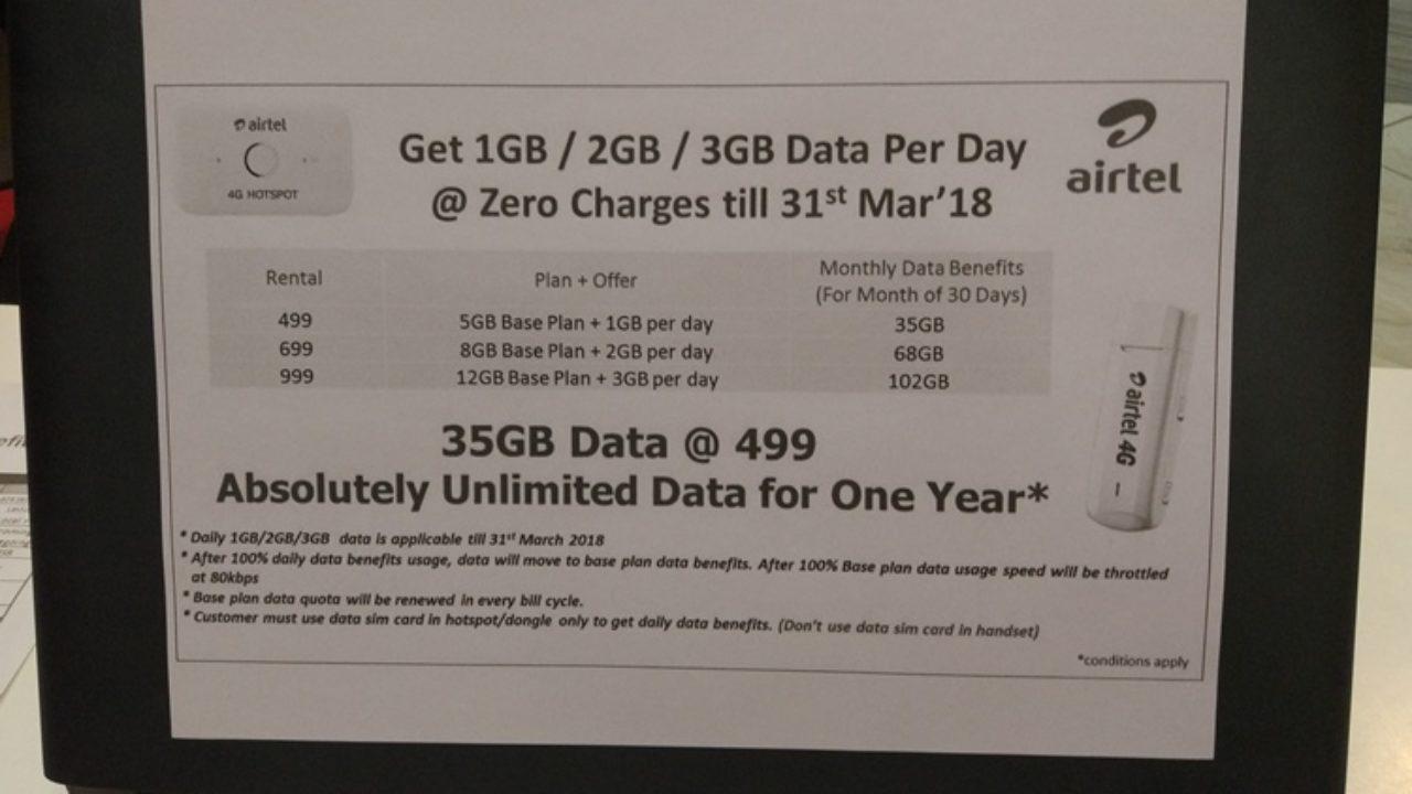 Airtel starts offering 1GB/2GB/3GB data per day for Airtel