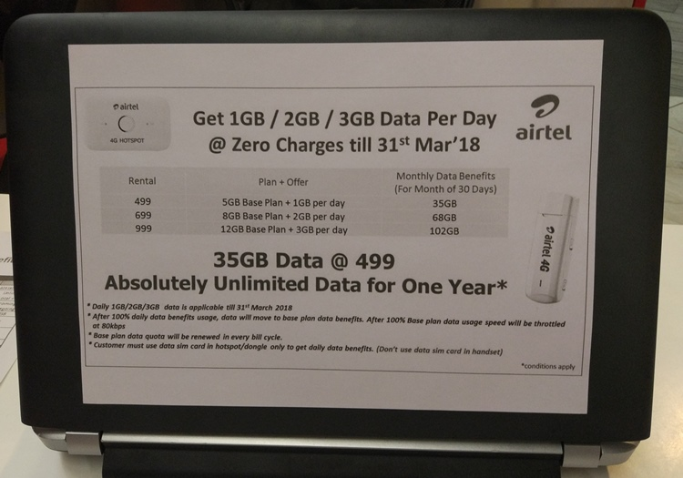 Airtel 4G Dongle Plans with Daily Limit
