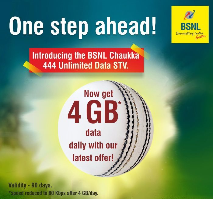 BSNL Chauka 444 2017 4G Data Per Day