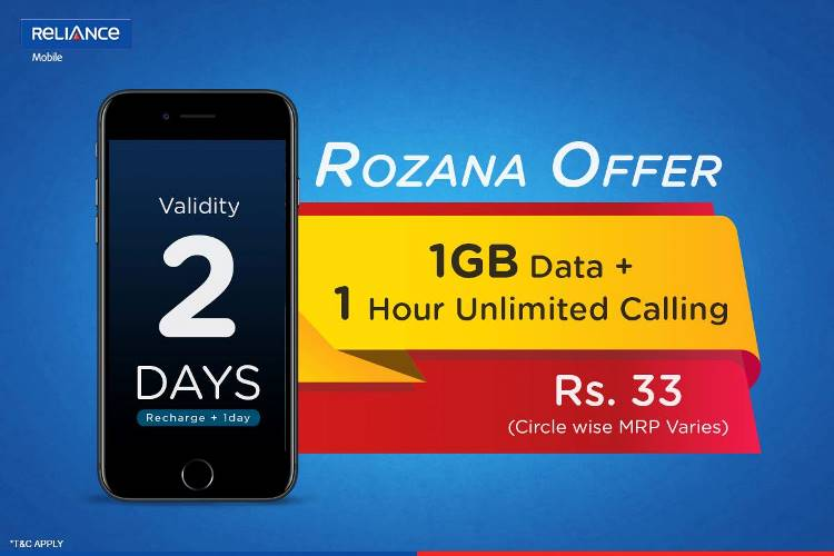 Reliance Rozana Packs 33 Unlimited Calling & Data