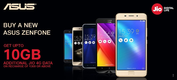 Asus Jio Extra Data Offer 2017 - 10 GB Extra Data by Reliance Jio