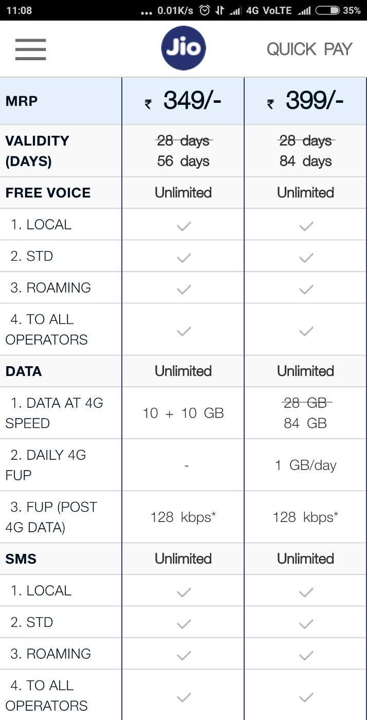 Jio 349 & 399 Plan New Launched