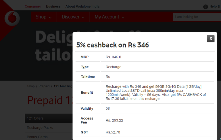 Vodafone 346 Plan Existing Customers