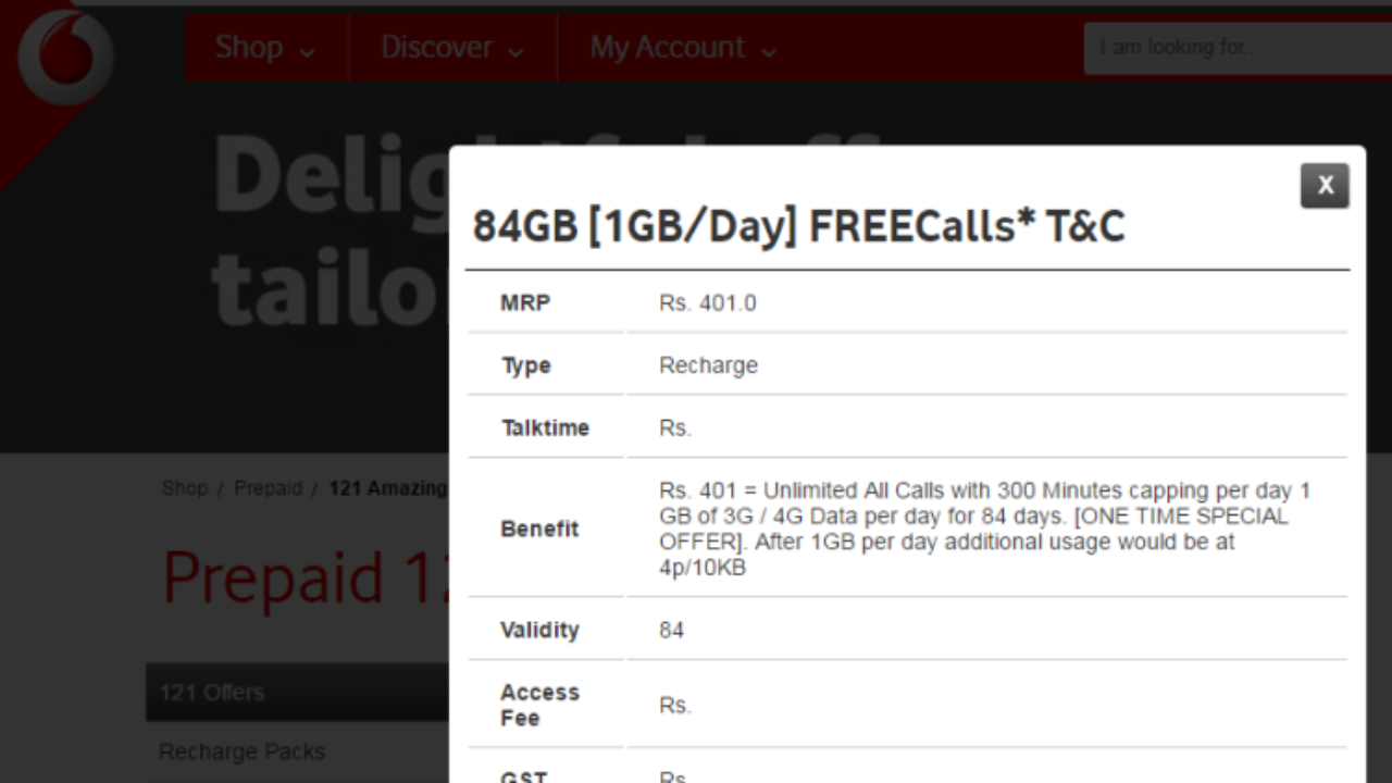 Vodafone 399 Plan 84 Days 84 Gb Unlimited Calls By Voda 399 Plan