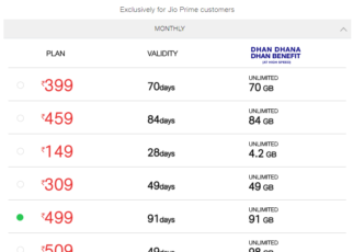 Jio 499 Plan - In 499, 91 Days, 91 GB, Unlimited Calls by Jio Prepaid